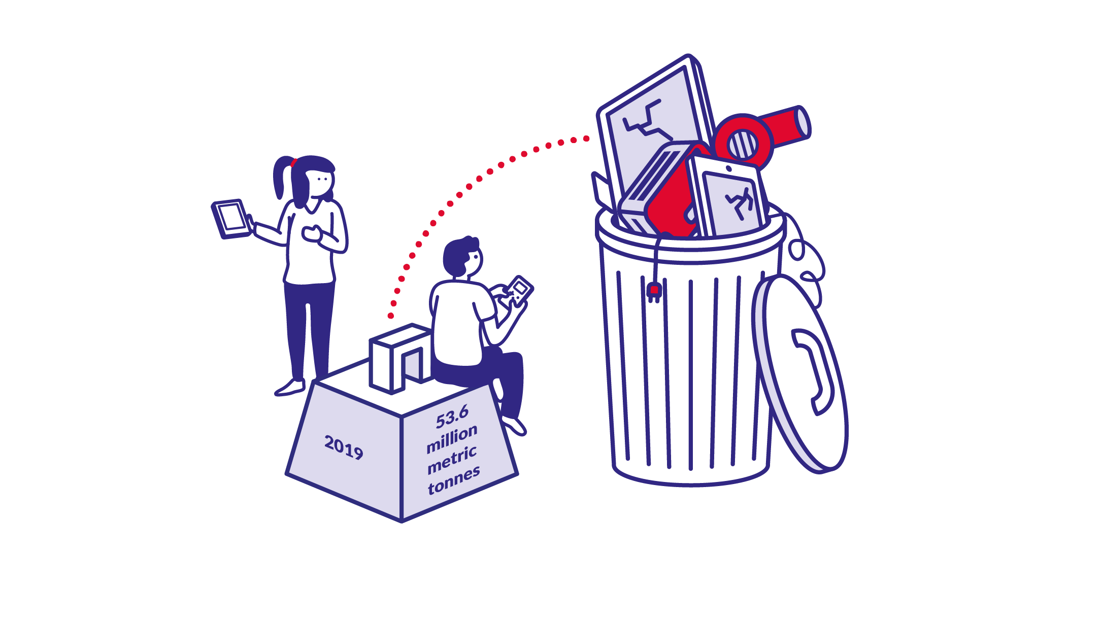 Illustration of two a male and a female read person looking at a trash can overflowing with electronic waste.