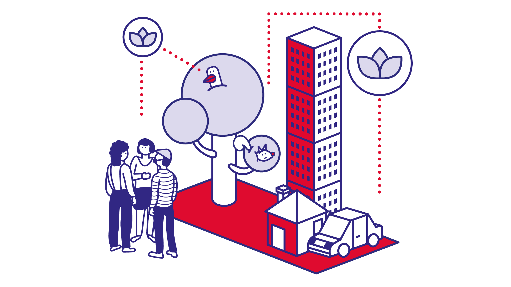 Illustration of a minimalist city scape. The image shows three people standing together, a tree with a bird in it, a skyscraper, a single family home and a car.